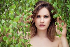 Beautiful woman face on birch leaves background. Natural beauty.  stock images