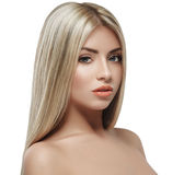 Beautiful woman face blonde hair portrait close up studio on white long hair Royalty Free Stock Photography