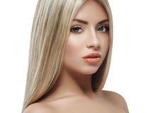 Beautiful woman face blonde hair portrait close up studio on white long hair Royalty Free Stock Image