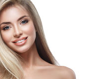Beautiful woman face blonde hair portrait close up studio on white long hair Royalty Free Stock Images