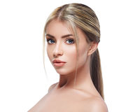 Beautiful woman face blonde hair portrait close up studio on white tail hair Royalty Free Stock Image