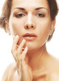 Beautiful woman face with clean purity skin Royalty Free Stock Image