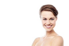 Beautiful woman face with clean skin Stock Photos