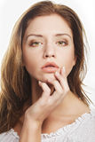 Beautiful woman face with clean skin Stock Photography