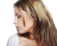Beautiful woman face with clean skin Stock Photo