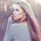 Beautiful woman face close up Stock Photos
