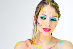 Beautiful woman face close up. Creative make up Stock Photo