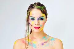 Beautiful woman face close up. Creative make up Royalty Free Stock Photo