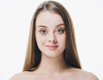 Beautiful woman face close up portrait beauty hair young studio on white Royalty Free Stock Image