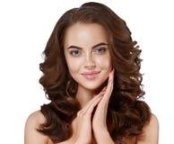 Beautiful woman face close up portrait long beautiful hair young. Royalty Free Stock Image