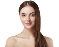 Beautiful woman face close up portrait long beautiful hair young studio on white Royalty Free Stock Photos