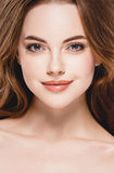 Beautiful woman face close up portrait studio on white Royalty Free Stock Images