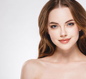 Beautiful woman face close up portrait studio on white Royalty Free Stock Photography