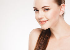 Beautiful woman face close up portrait studio on white Royalty Free Stock Photos