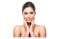 Beautiful woman face close up studio on white. Beauty spa model female, clean fresh perfect skin closeup. Youth care concept. Cosm. Beautiful woman face close up Royalty Free Stock Photography