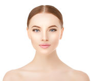 Beautiful woman face close up studio on white. Beauty spa model Royalty Free Stock Photography