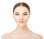 Beautiful woman face close up studio on white. Beauty spa model stock photo