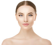 Beautiful woman face close up studio on white. Beauty spa model Royalty Free Stock Images
