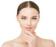 Beautiful woman face close up studio on white. Beauty spa model Stock Images
