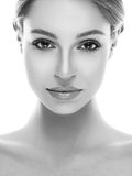 Beautiful woman face close up studio on white Stock Photo