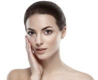Beautiful woman face close up studio on white portrait Royalty Free Stock Photo