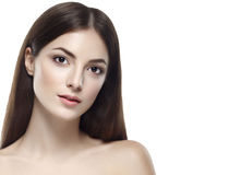 Beautiful woman face close up studio on white portrait Stock Image
