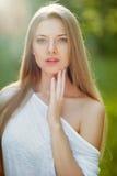 Beautiful woman face close up Stock Photo