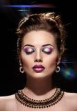 Beautiful woman face closed eyes Royalty Free Stock Image