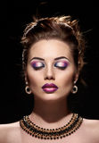 Beautiful woman face closed eyes Royalty Free Stock Photo