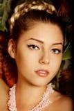 Beautiful woman face closeup. Girl with beauty face. Stock Photo