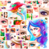 Beautiful Woman face collage. fashion abstract illustration Stock Photography