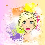 Beautiful woman face colorful ink paint splash Stock Images