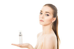 Beautiful woman with face cream isolated Royalty Free Stock Photography