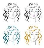 Beautiful Woman Face Design Set Stock Photography