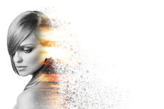 Beautiful woman face in double exposure crushed Royalty Free Stock Photos