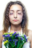 Beautiful  woman face with flowers Stock Photos