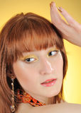 Beautiful woman face with golden arabic make-up Royalty Free Stock Photos