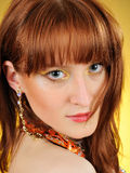 Beautiful woman face with golden arabic make-up Royalty Free Stock Photography