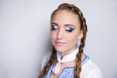 Woman blue make up royalty free stock photography