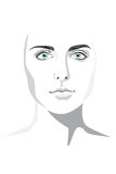 Beautiful woman face hand drawn  illustration eps. Rn Royalty Free Stock Images
