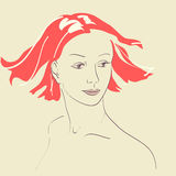 Beautiful woman face hand-drawn portrait illustrat Stock Images