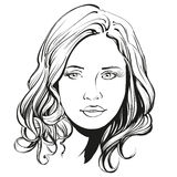 Beautiful woman face hand drawn vector illustration Stock Photos