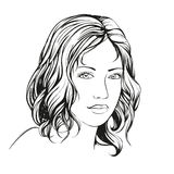 Beautiful woman face hand drawn vector illustration  sketch Stock Images