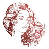 Beautiful woman face hand drawn vector illustration sketch Royalty Free Stock Photo