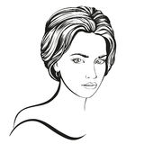 Beautiful woman face hand drawn vector illustration sketch Royalty Free Stock Images