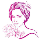 Beautiful woman face hand drawn vector illustration sketch Stock Photo