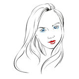 Beautiful woman face hand drawn vector llustration Royalty Free Stock Images