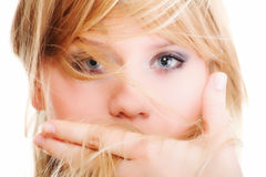 Beautiful woman face hands isolated Stock Photos