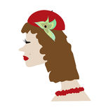 Beautiful woman face with hat vector illustration Royalty Free Stock Image