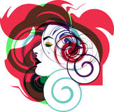 Beautiful Woman face illustration. Abstract Illustration of woman face made in adobe illustrator Stock Image